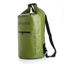 dry bag with shoulder straps and front pocket